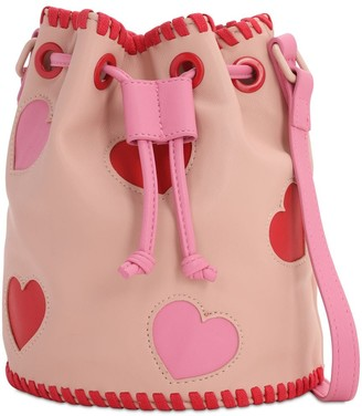 Stella McCartney Faux Leather Bucket Bag W/ Heart Patches