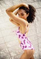 Missguided Pink Tie Front Pineapple Swimsuit