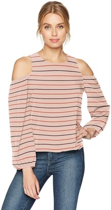 Lucca Couture Women's Michelle Cold Shoulder Keyhole Back Top