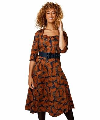 Joe Browns Womens Vintage Autumn Leaves Belted Skater Dress Orange 10