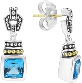 Lagos 18K Gold and Sterling Silver Caviar Color Drop Earrings with Swiss Blue Topaz
