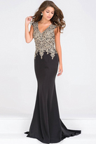 Jovani Cap Sleeve Fitted Embellished Bodice Prom Dress JVN48496