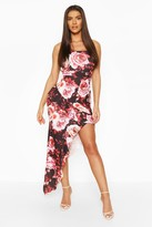boohoo Floral Print Square Neck Ruffle Maxi Dress