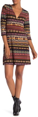 Papillon 3/4 Length Sleeve Printed Dress