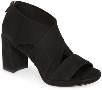 Eileen Fisher Marla Leather Block Heel Sandal
