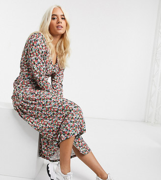ASOS DESIGN Petite floral print long sleeve maxi tea dress