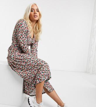 Asos DESIGN Petite floral print long sleeve maxi tea dress-Multi