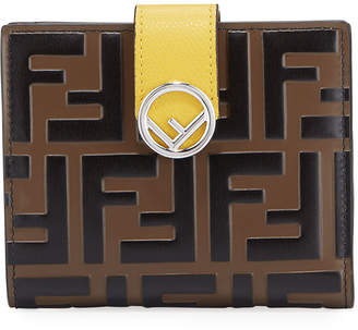 Fendi FF Logo Leather Bi-Fold Wallet, Maya Yellow