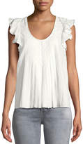 The Great The Tulip Billowy-Sleeve Pintuck Linen-Cotton Top