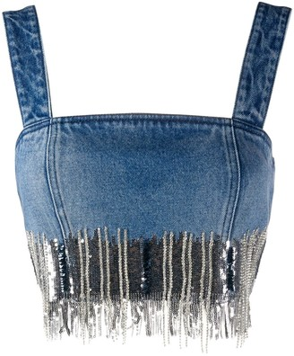 Balmain Sequin-Embellished Denim Vest