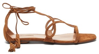 Aquazzura Gitana Tasselled Wraparound-strap Suede Sandals - Tan