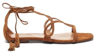 Aquazzura Gitana Tasselled Wraparound-strap Suede Sandals - Womens - Tan