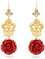 Dolce & Gabbana Crown and rose drop earrings