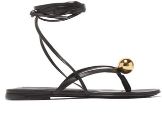 Jil Sander Metallic-orb Flat Wraparound Leather Sandals - Womens - Black