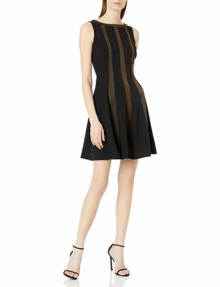 Gabby Skye Women's Sleeveless Round Neck Seamed Down Crepe Fit and Flare Dress
