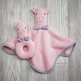Baby Essentials Plush Pair Lovey & Rattle (Pig)