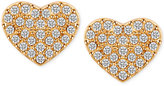 T Tahari Gold-Tone Pavé Heart Stud Earrings