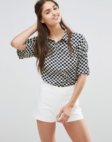 Darling Cropped Checked Shirt