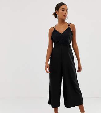 Miss Selfridge lace trim satin jumpsuit-Black