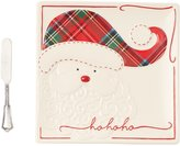 Mud Pie Holiday Tartan Santa Cheese Plate with Spreader