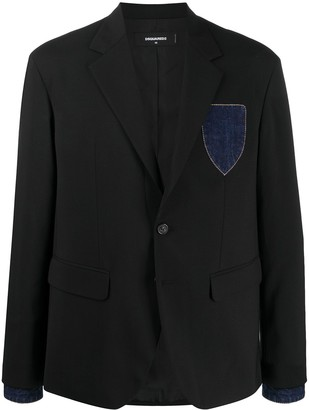 DSQUARED2 Denim-Detail Single-Breasted Blazer