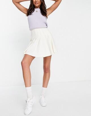 Monki Marianna pleated mini skirt in off white