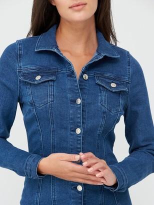 Very Long Sleeve Denim Shirt Dress - Mid Wash