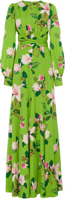 Andrew Gn Floral Silk Maxi Dress