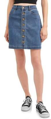 Wax Denim Juniors' Wax Exposed Button Denim A-Line Mini Skirt