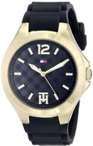Tommy Hilfiger Women's 1781382 Gold-Tone Watch with Black Silicone Band