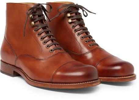 Grenson Leander Cap-Toe Burnished-Leather Boots