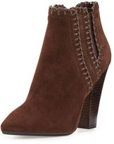 Michael Kors Channing Whipstitch Suede Bootie, Dark Luggage