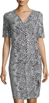 Lafayette 148 New York Diamond-Print Side-Tie Dress, Black Multi