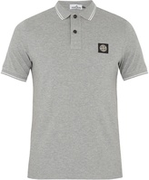 Stone Island Striped-edge cotton-blend polo shirt