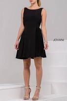 Jovani Bateau A-Line Neoprene Cocktail Dress 42489