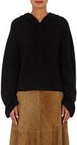 The Elder Statesman Women's Cashmere-Blend Hooded Crop Sweater-BLACK