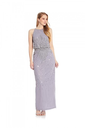 Hailey Logan Beaded Halter Blouson Gown