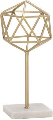 Uma Enterprises Uma Metallic Gold Metal Modern Geometric Orb Sculpture On Marble Base