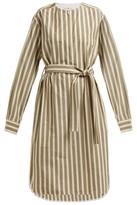 Golden Goose Belted Striped Cotton-blend Dress - Womens - Cream Stripe