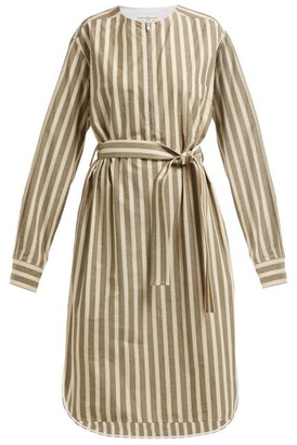 Golden Goose Belted Striped Cotton-blend Dress - Cream Stripe
