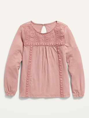 Old Navy Long-Sleeve Lace-Yoke Jersey Top for Girls