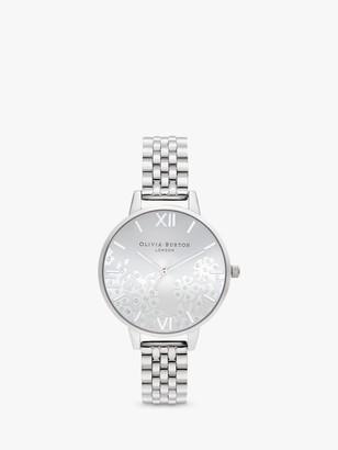 Olivia Burton OB16MV101 Women's Bejewelled Lace Swarovski Crystal Bracelet Strap Watch, Silver