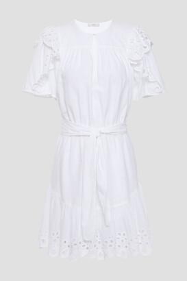 Joie Safia Ruffled Broderie Anglaise Cotton Mini Dress