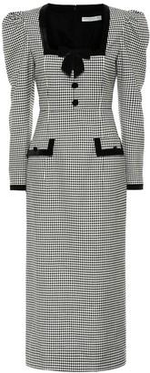 Alessandra Rich Checked wool-blend midi dress