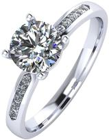 Moissanite Paladium 1.10 Carat Solitaire Ring With Set Shoulders