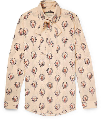 Gucci Slim-Fit Penny-Collar Printed Silk-Crepe Shirt