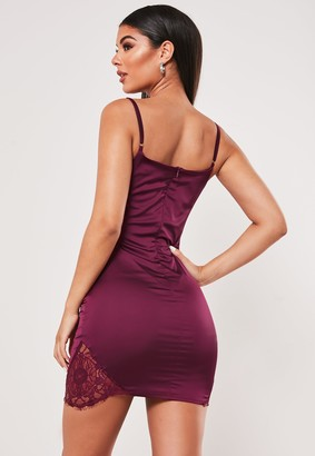 Missguided Plum Stretch Satin Lace Side Bodycon Mini Dress