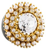 Kenneth Jay Lane Faux Pearl & Crystal Cocktail Ring