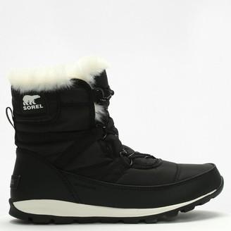 Sorel Whitney Black Nylon Short Lace Ankle Boots