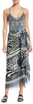Camilla Printed Square Scarf Skirt with Raw Edges